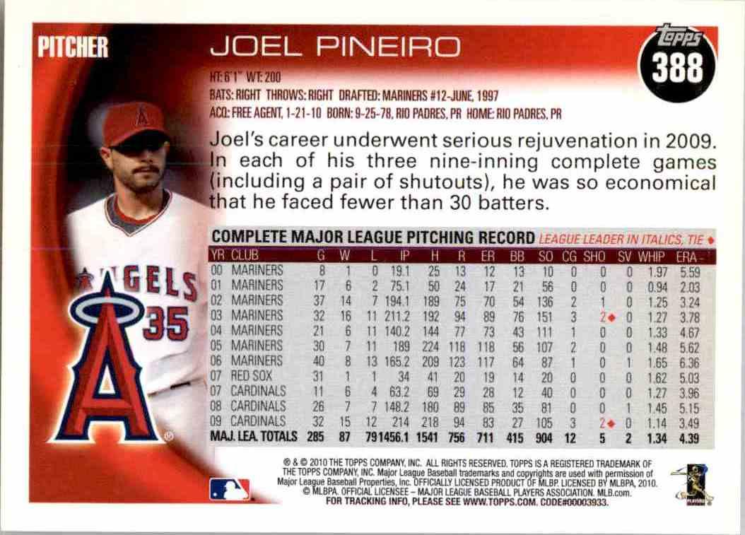 2010 Topps Joel Pineiro #388 card back image
