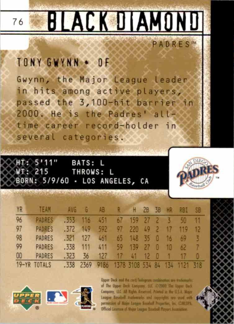 2001 Black Diamond Tony Gwynn #76 card back image