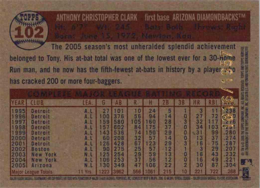 2006 Topps Heritage Chrome Tony Clark #102 card back image