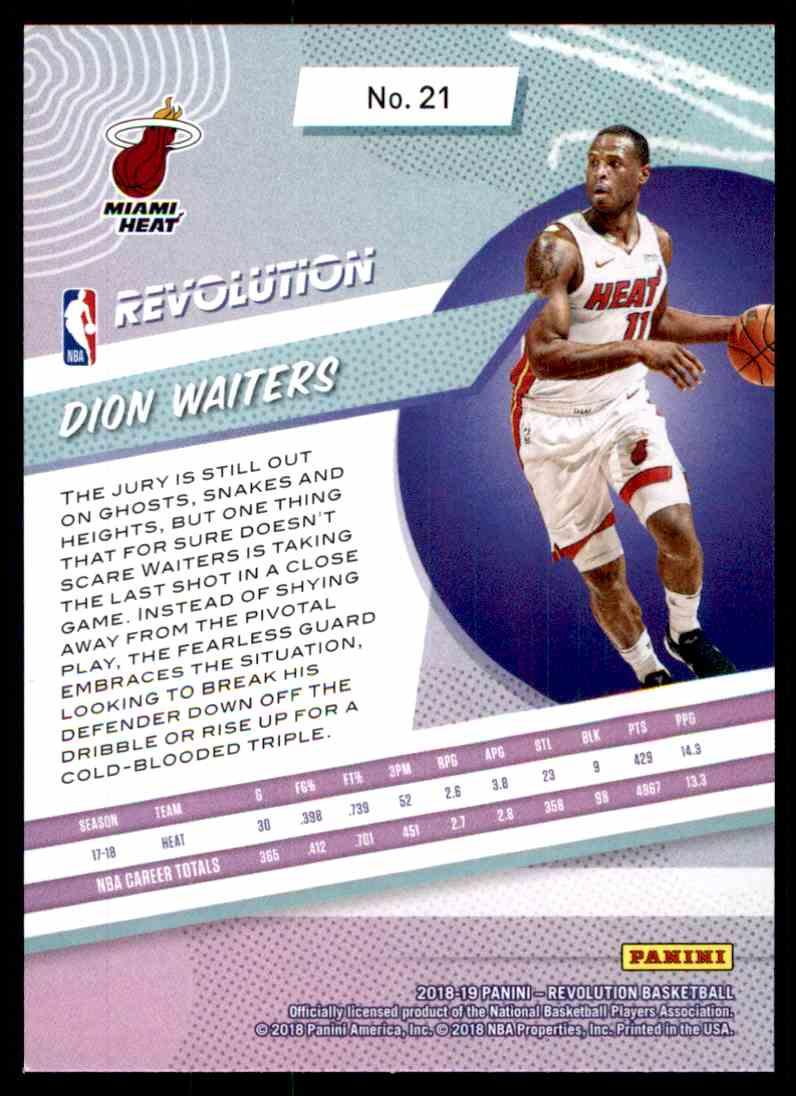 2018-19 Panini Revolution Base Dion Waiters #21 card back image