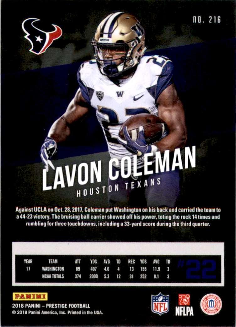 2018 Prestige Lavon Coleman #216 card back image