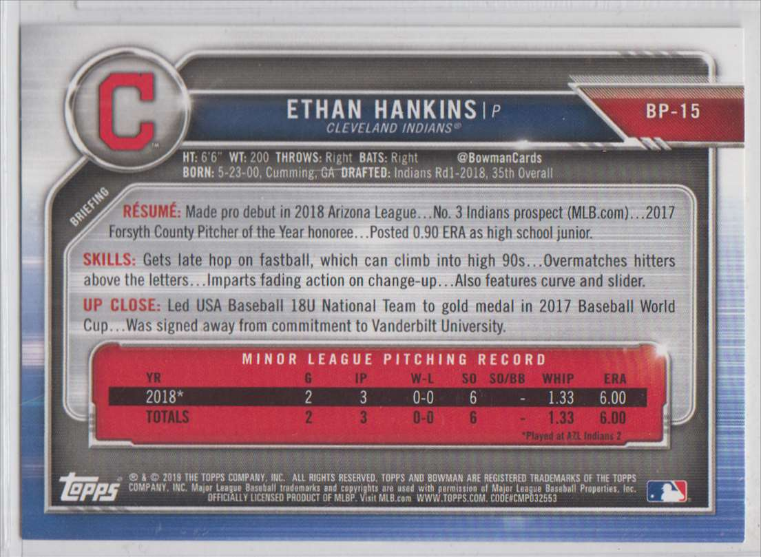 2019 Bowman Prospects Ethan Hankins #BP-15 card back image