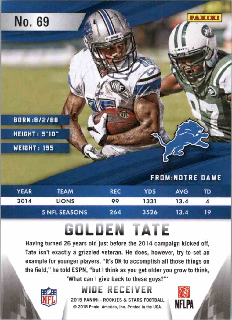 2015 Panini Rookies And Stars Golden Tate #69 card back image