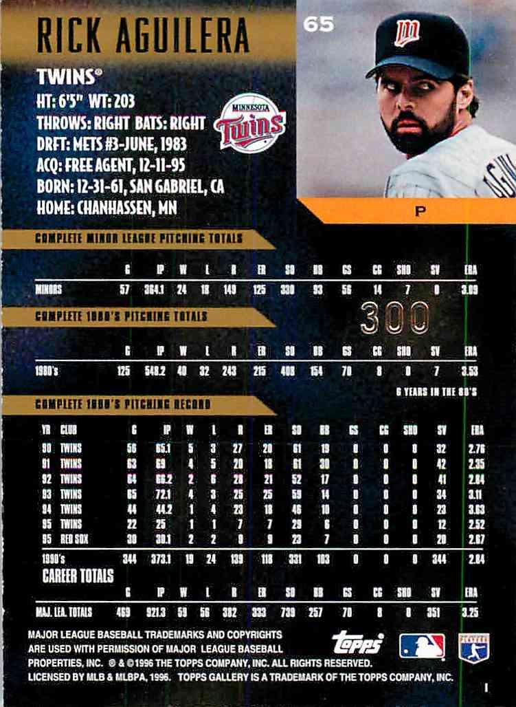 1992 Ballstreet Rick Aguilera #65 card back image