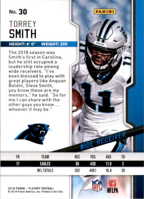2018 Playoff Torrey Smith #30 card back image