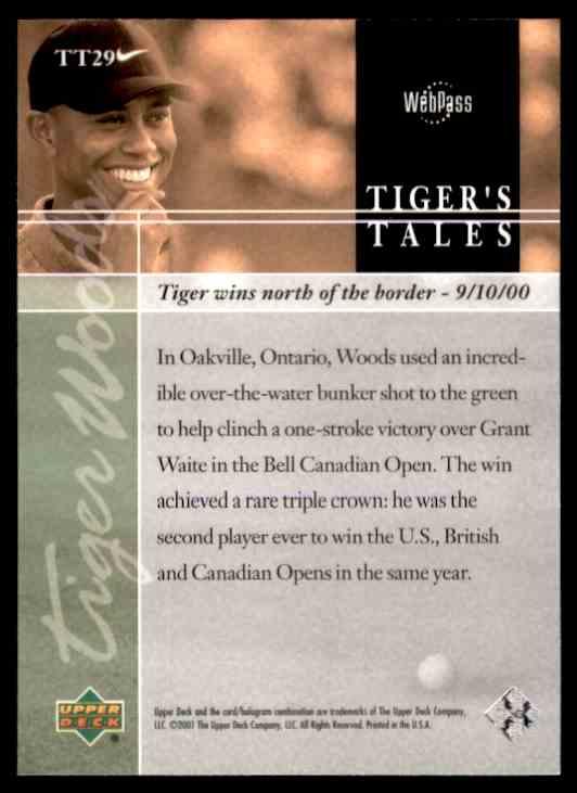 2001 Upper Deck Tiger Woods #TT29 card back image