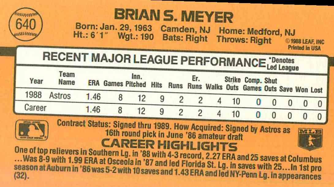 1989 Donruss Brian Meyer #640 card back image