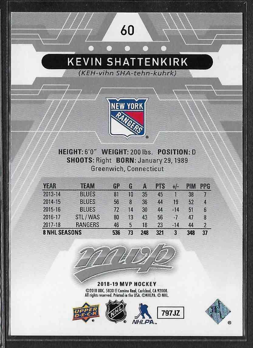 2018-19 Upper Deck MVP Super Script Kevin Shattenkirk #60 card back image