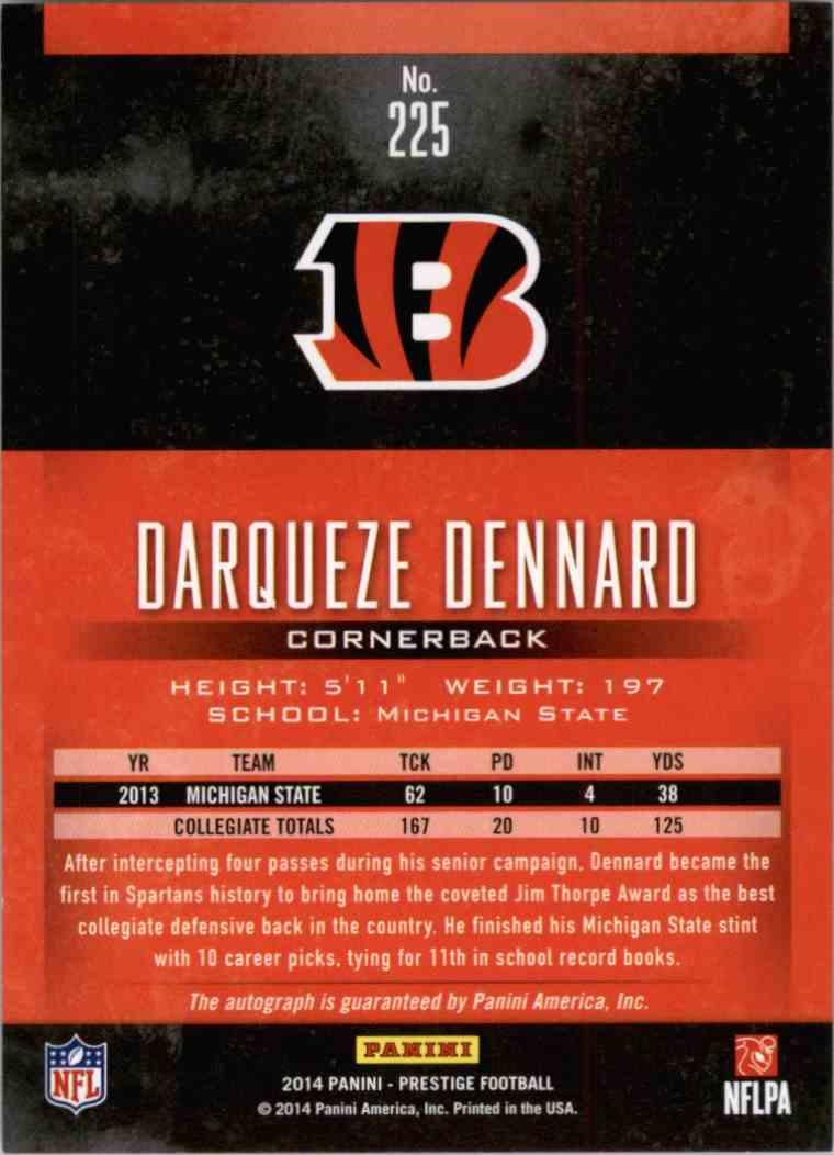 2014 Panini Prestige Darqueze Dennard #225 card back image