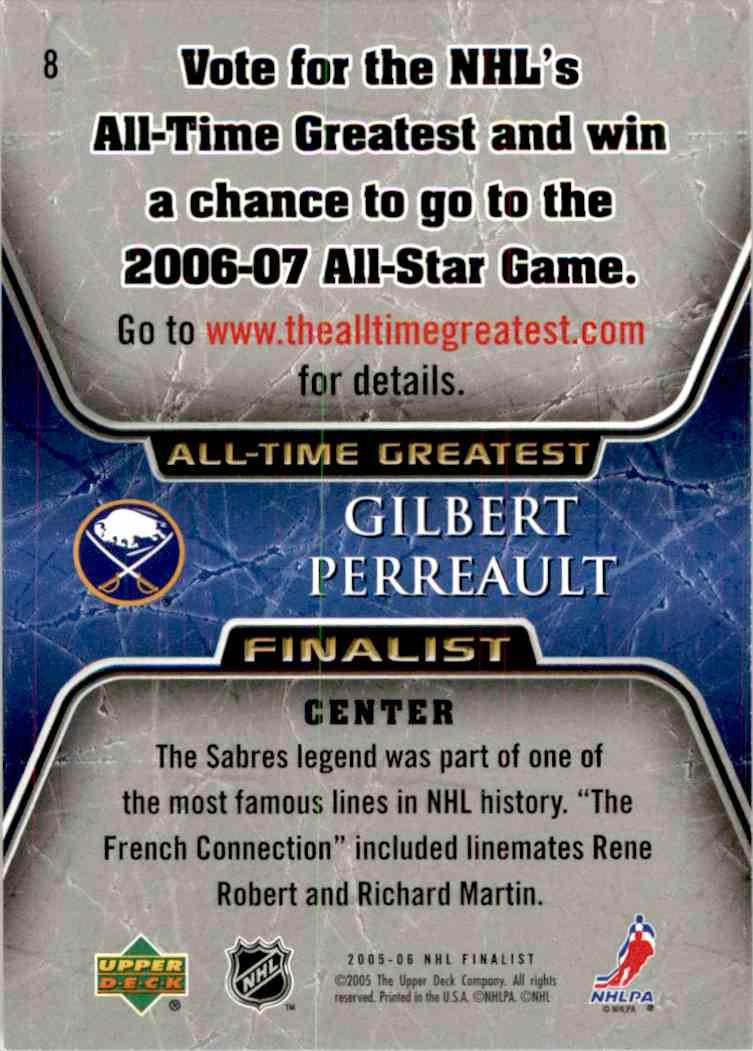 2005-06 Upper Deck All Time Greatest Gilbert Perreault #8 card back image