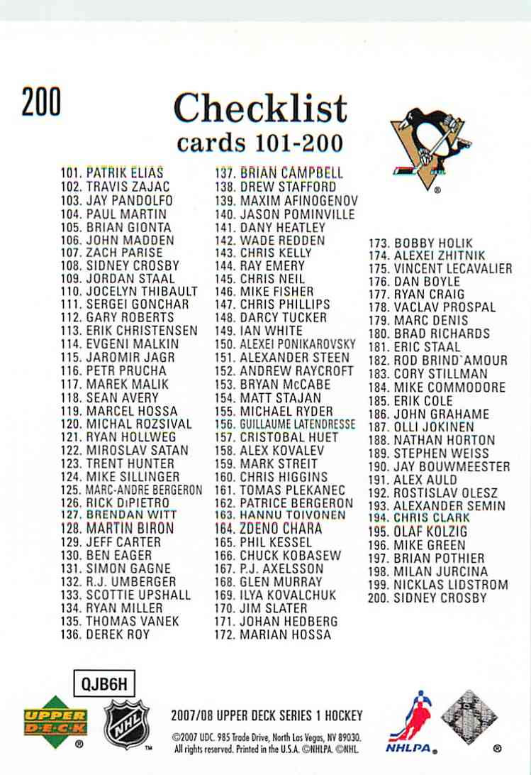 2007-08 Upper Deck Series 1 Checklist #200 card back image
