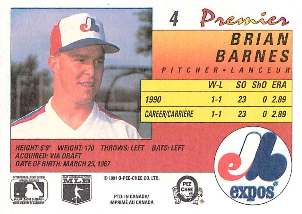 1991 O-Pee-Chee Premier Brian Barnes #4 card back image