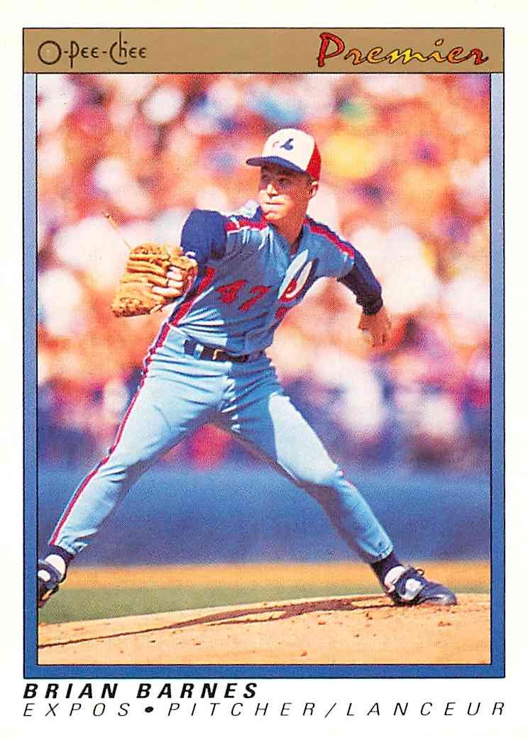 1991 O-Pee-Chee Premier Brian Barnes #4 card front image