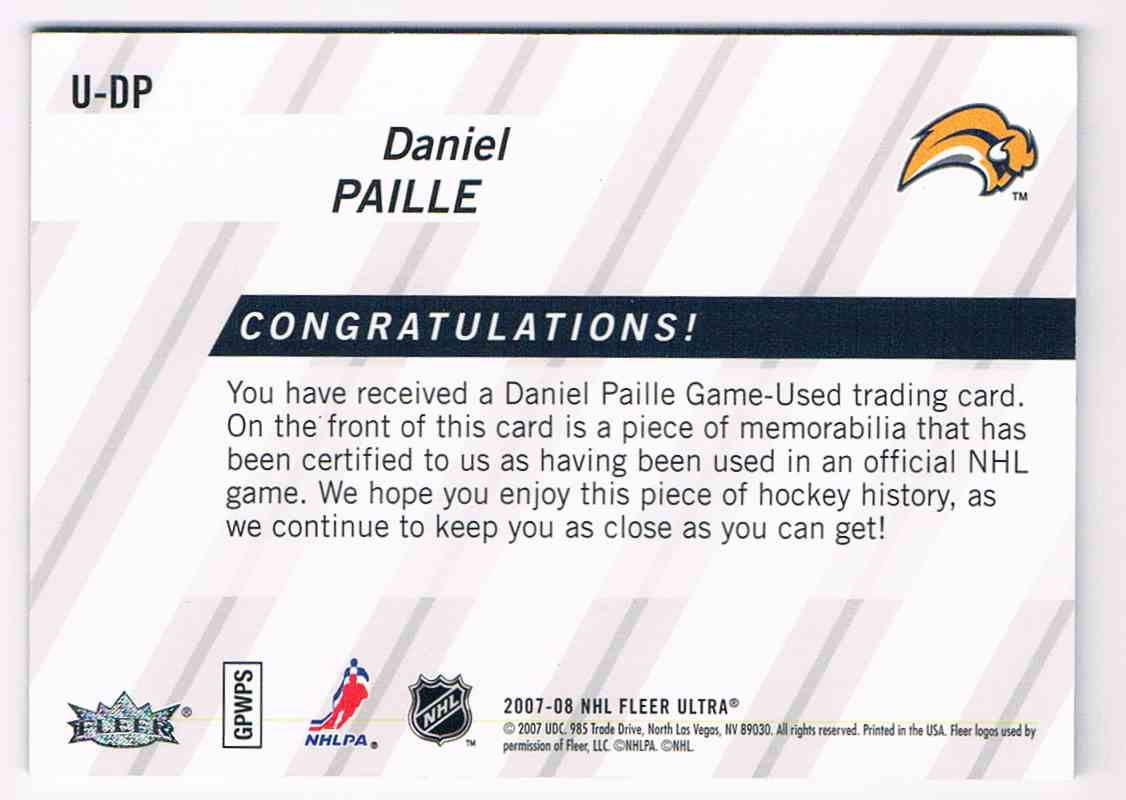 2007-08 Upper Deck Ultra Uniformity Daniel Paille #U-DP card back image