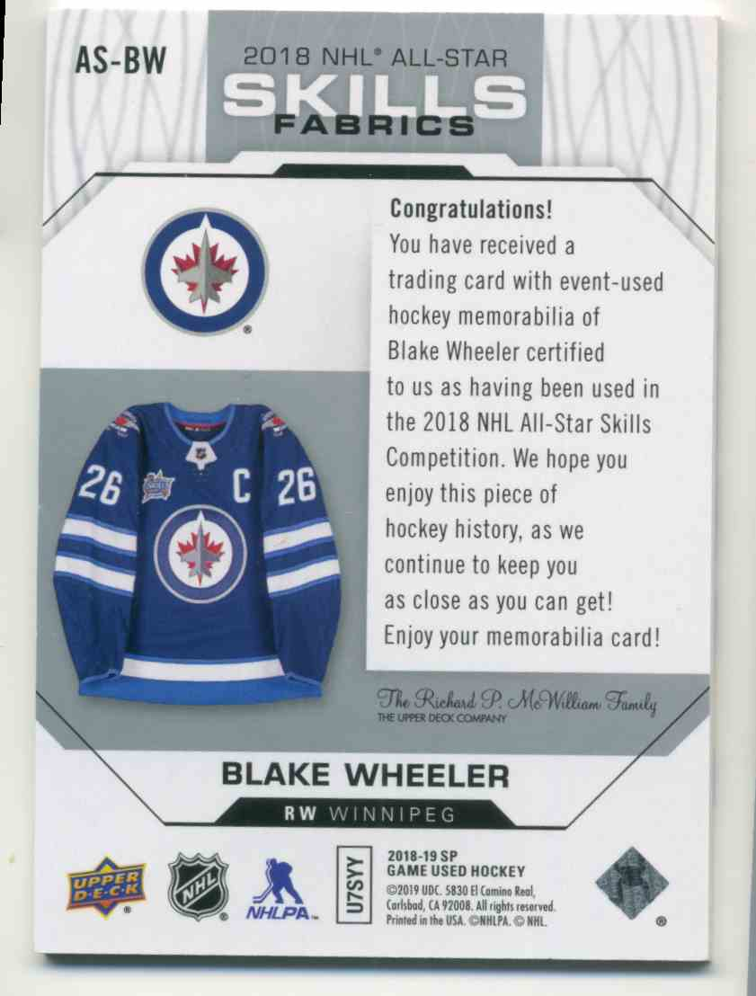 2018-19 Upper Deck SP Game Used '18 All Star Skills Fabrics Blake Wheeler #AS-BW card back image
