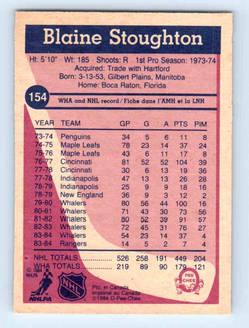 1984-85 O-Pee-Chee Blaine Stoughton #154 card back image