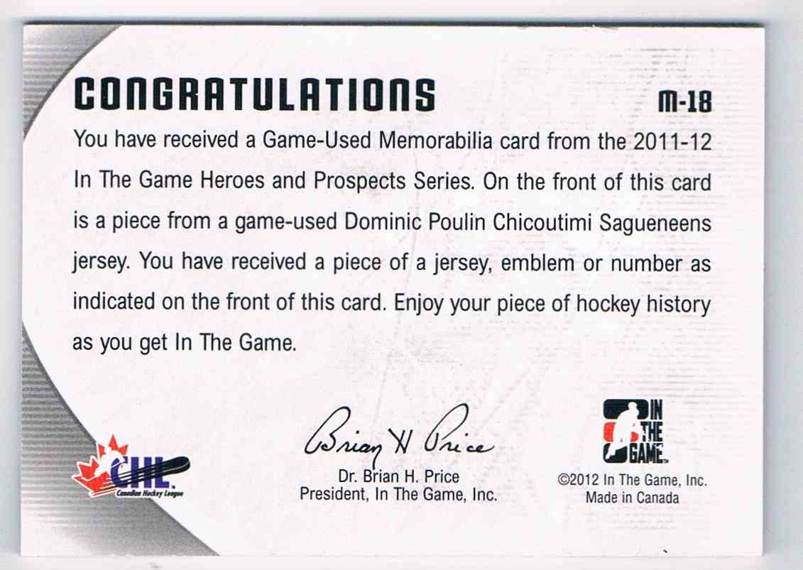 2011-12 ITG Heroes & Prospects Dominic Poulin #M-18 card back image