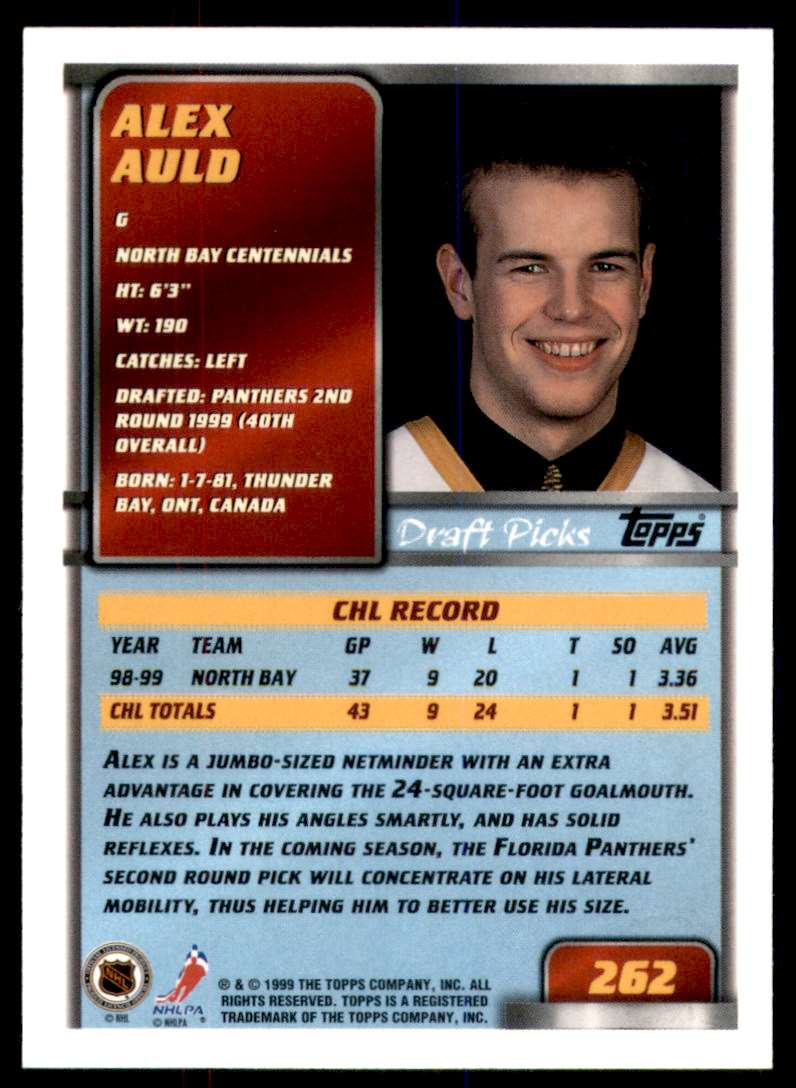 1999-00 Topps Alex Auld RC #262 card back image