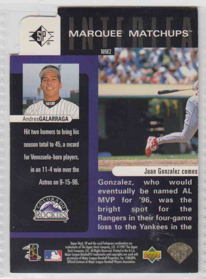 1997 SP Marquee Matchups Andres Galarraga #MM2 card back image