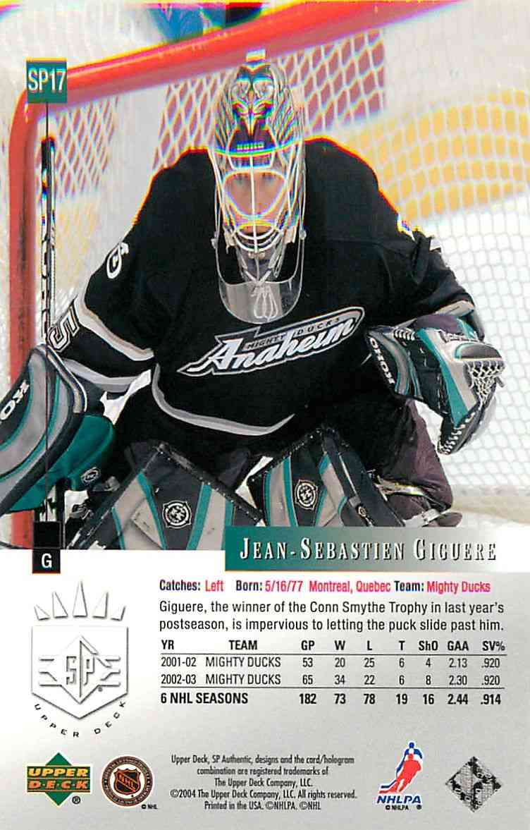 2003-04 Upper Deck Sp Jean-Sebastien Giguere #SP17 card back image