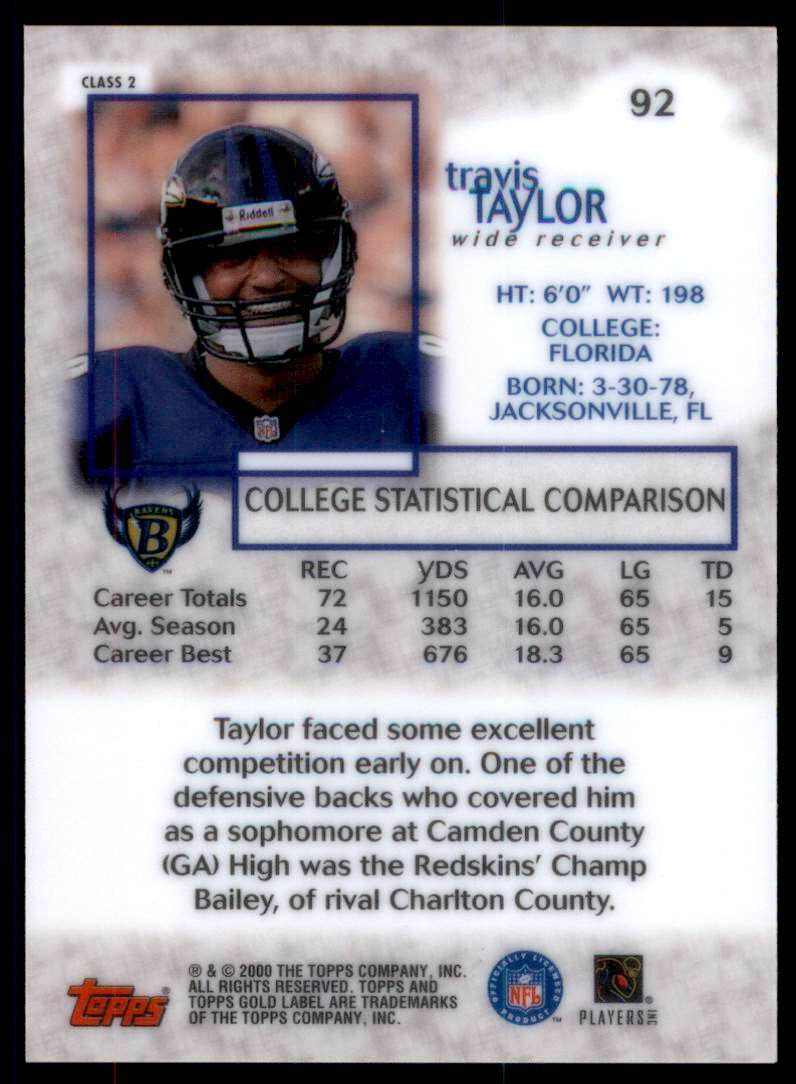 2000 Topps Gold Label Class 2 Travis Taylor #92 card back image