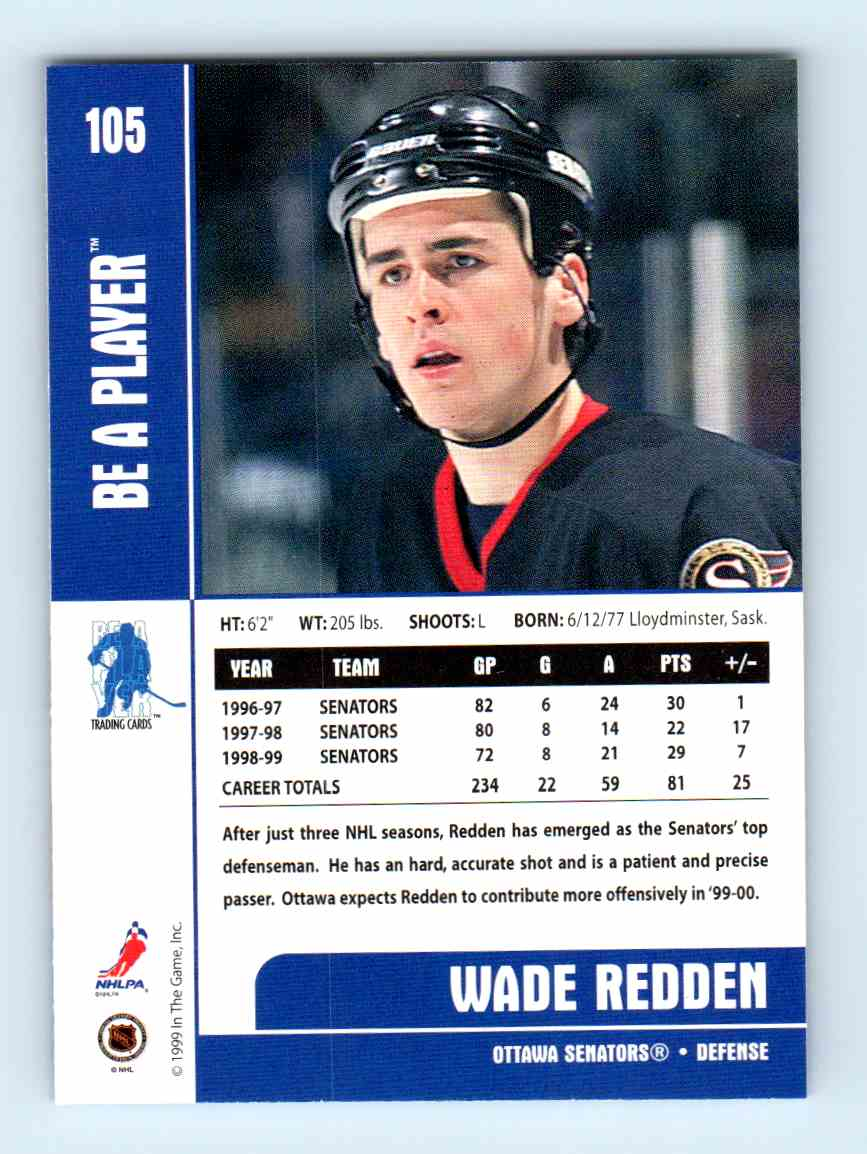 1999-00 Be A Player Wade Redden #105 card back image