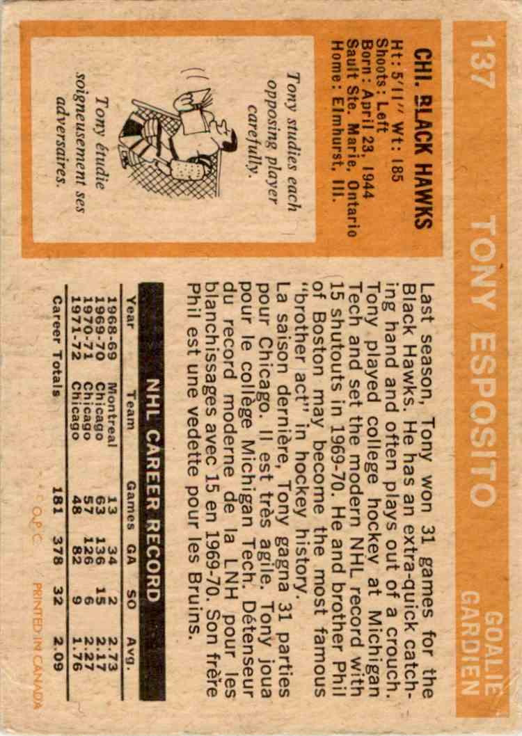 1972-73 O-Pee-Chee Tony Esposito #137 card back image