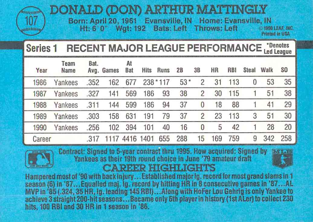 1991 Donruss Don Mattingly #107 card back image