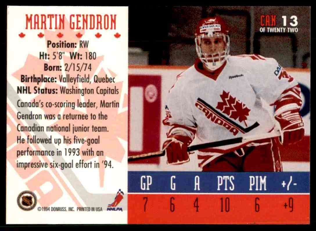 1995-96 Donruss Canadian World Junior Team Martin Gendron #CAN 13 card back image