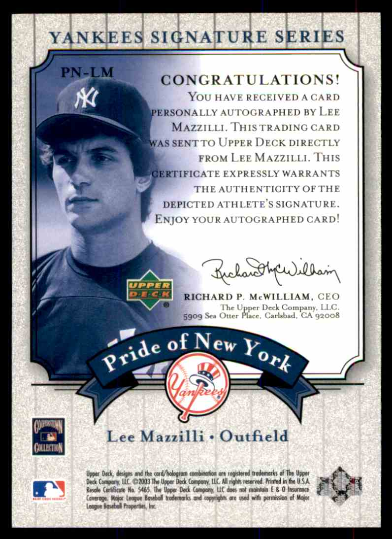 2003 Upper Deck Yankees Siganture Series Lee Mazzilli card back image