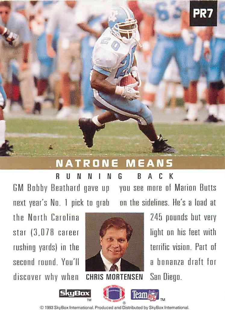 1993 Skybox Primetime Rookie Natrone Means #PR7 card back image
