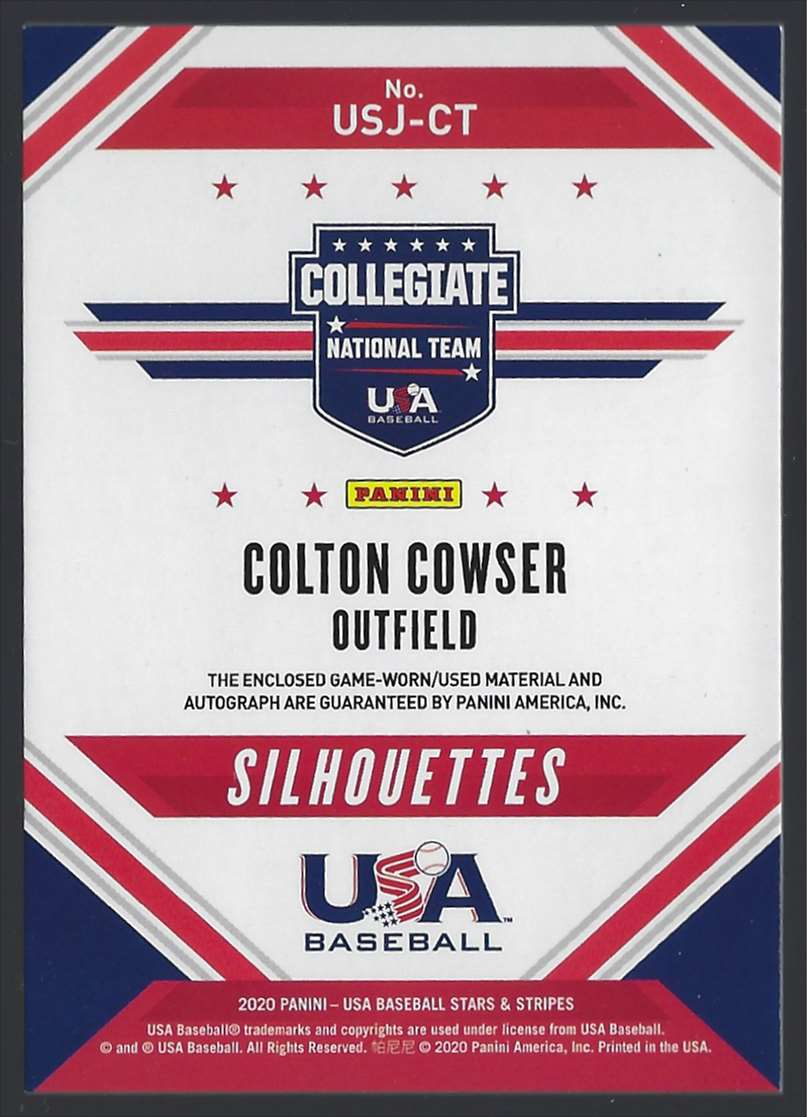2020 USA Baseball Stars And Stripes Silhouettes Black Gold Signature Jerseys Colton Cowser #USJCT card back image