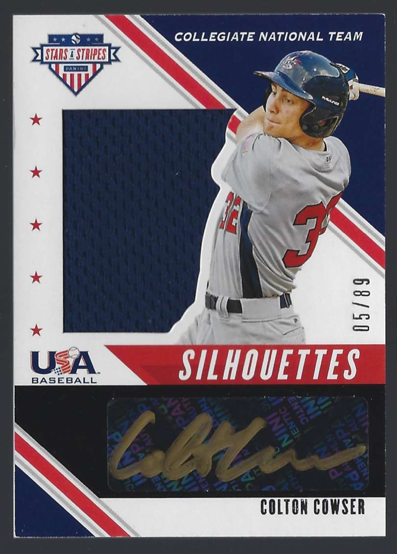 2020 USA Baseball Stars And Stripes Silhouettes Black Gold Signature Jerseys Colton Cowser #USJCT card front image