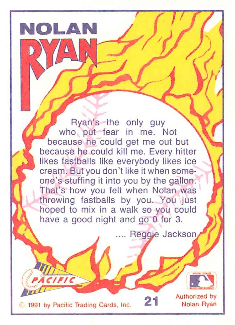 1991 Pacific Texas Express Nolan Ryan #21 card back image