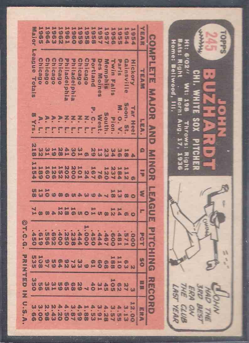 1966 Topps John Buzhardt #245 card back image
