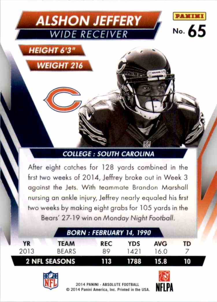 2014 Absolute Retail Alshon Jeffery #65 card back image