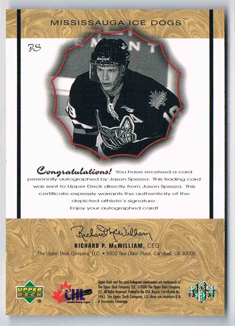 1999-00 UD Prospects Signatures Of Tradition Jason Spezza #JS card back image