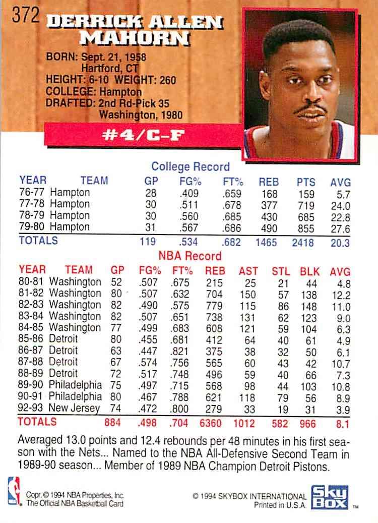 1993-94 Hoops Rick Mahorn #372 card back image