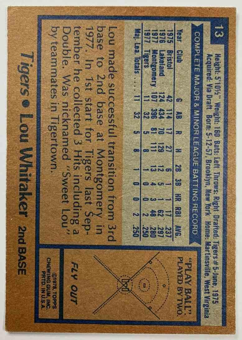 1978 Topps Burger King Restaurant Detroit Tigers Lou Whitaker #13 card back image