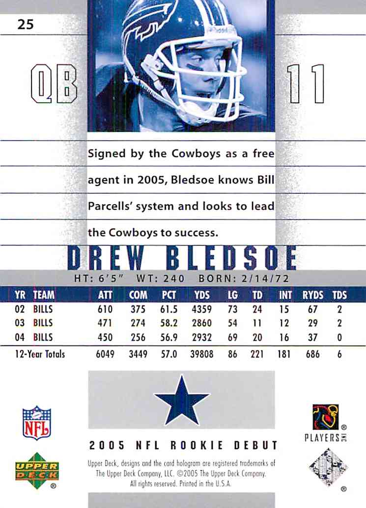 2005 Nfl Rookie Debut Drew Bledsoe #25 card back image