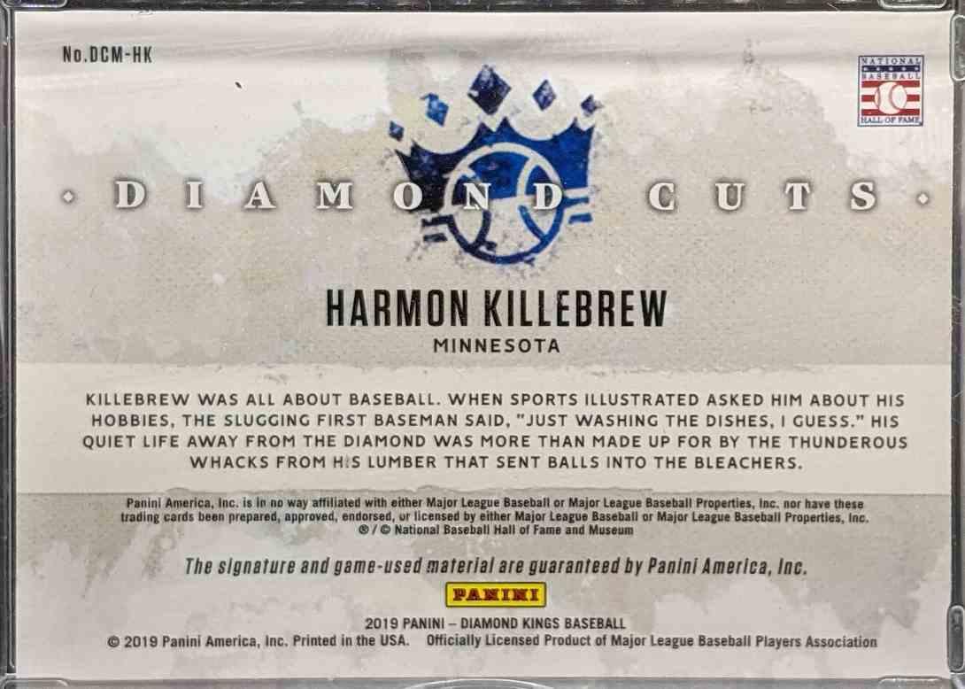 2019 Panini Diamond Cuts Harmon Killebrew #DCM-HK card back image