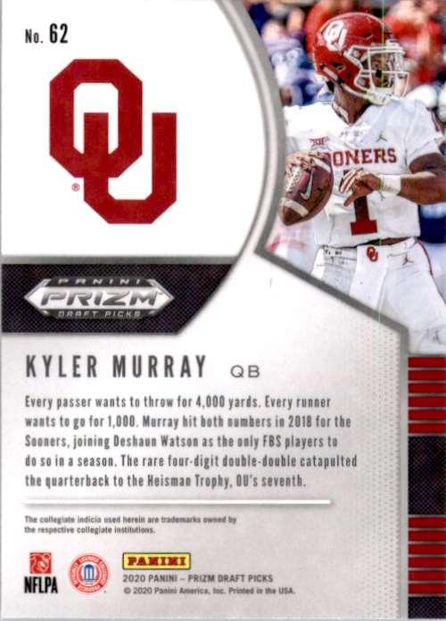 2020 Panini Prizm Draft Picks Kyler Murray #62 card back image