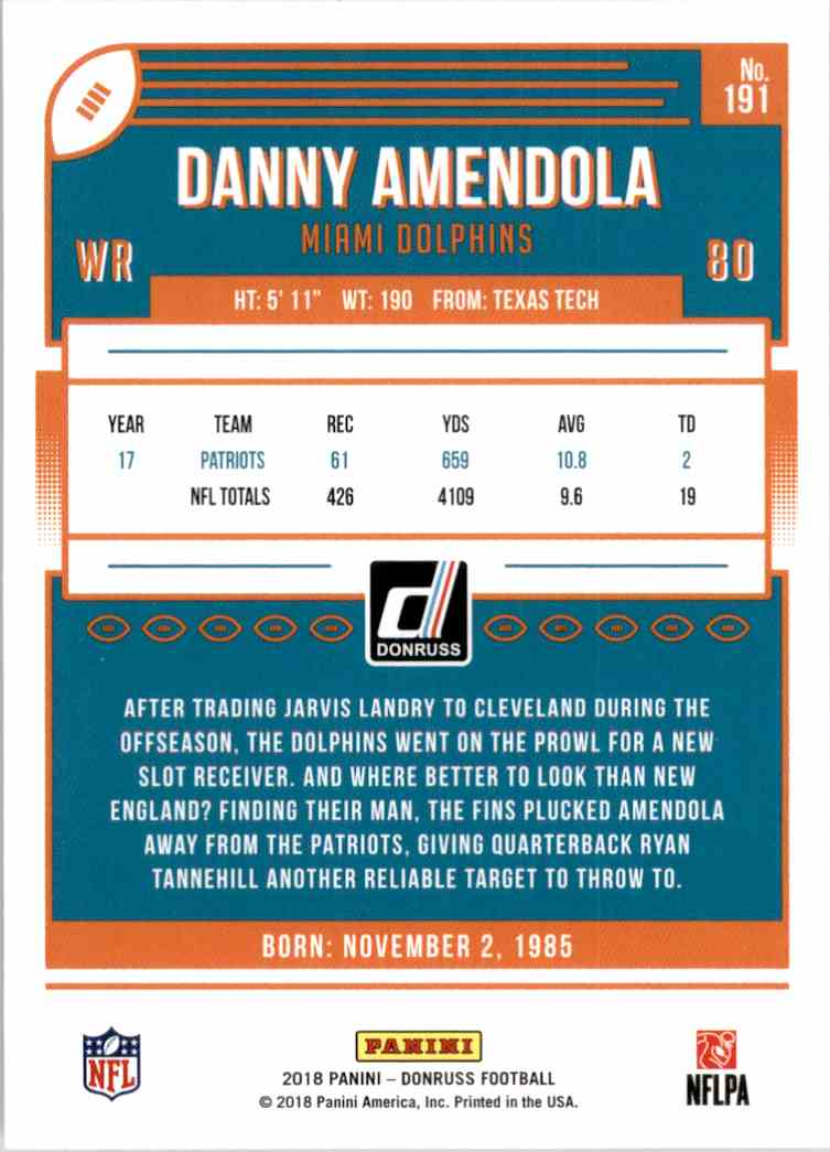 2018 Donruss Danny Amendola #191 card back image
