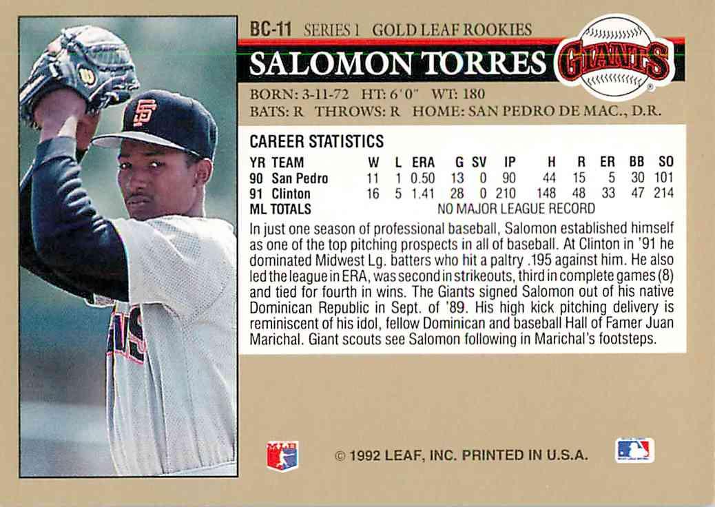 1988 Leaf Salomon Torres #BC-11 card back image