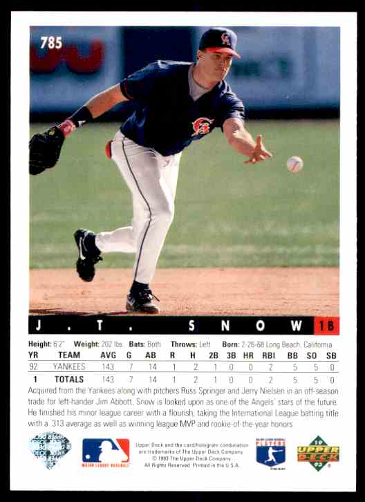 1993 Upper Deck J.T. Snow #785 card back image