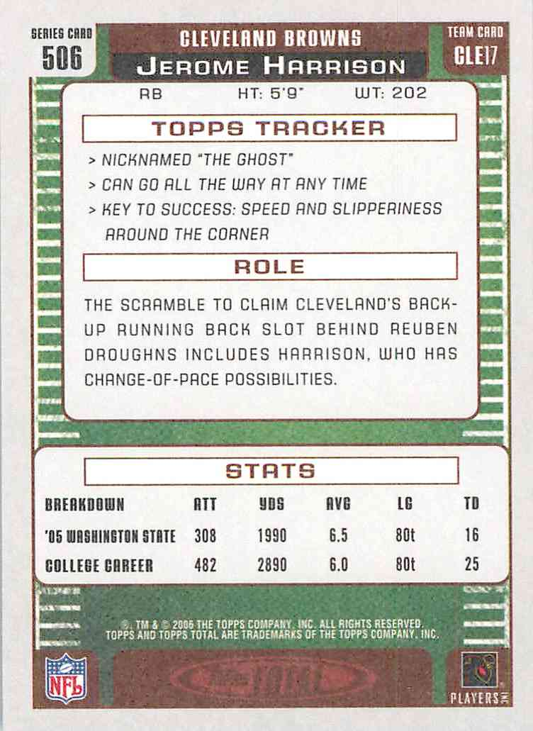 2006 Topps Total Red Jerome Harrison #506 card back image
