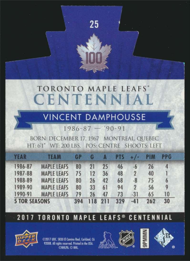 2017-18 UD Maple Leafs Centennial Die Cut Vincent Damphousse #25 card back image