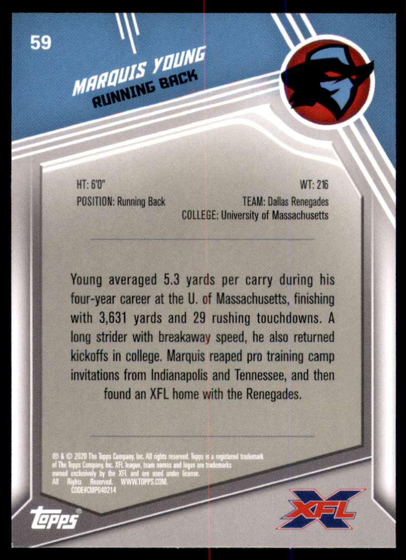 2020 Topps Xfl Marquis Young #59 card back image