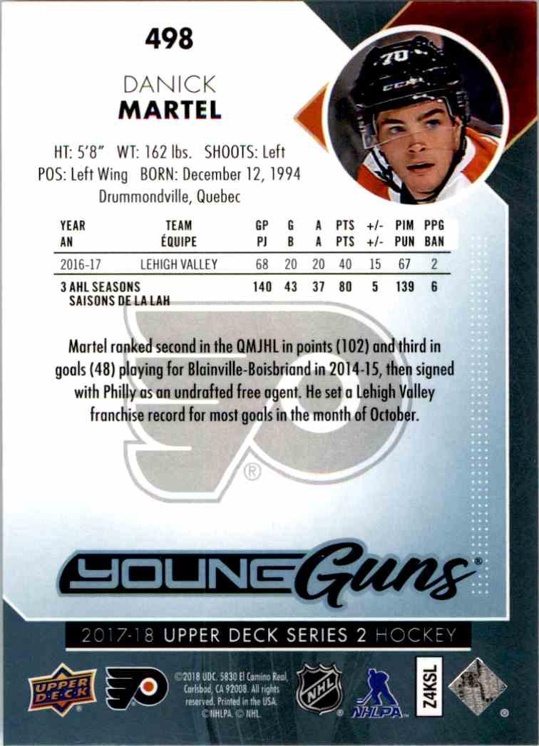 2017-18 Upper Deck Young Guns Danick Martel #498 card back image