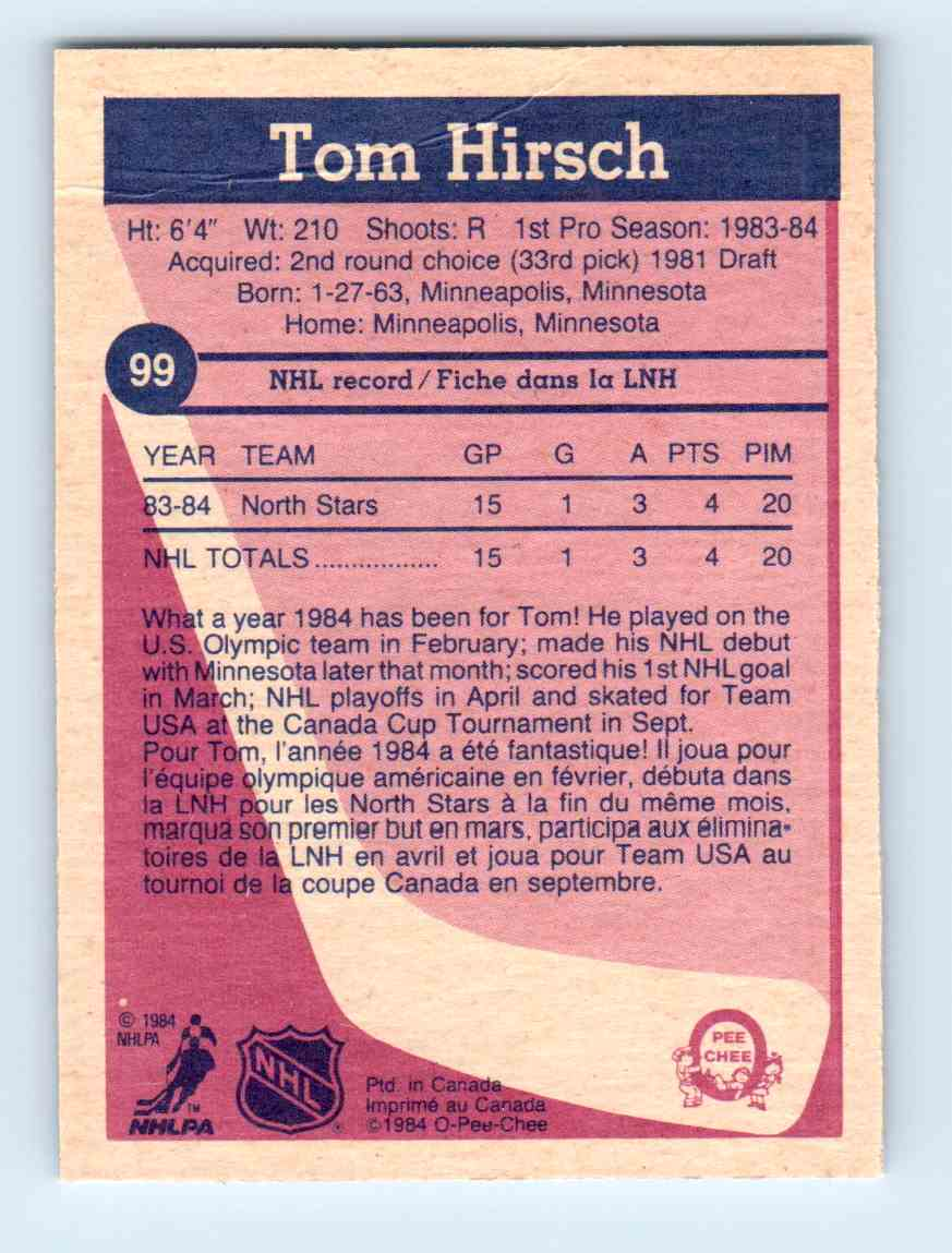 1984-85 O-Pee-Chee Tom Hirsch #99 card back image